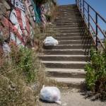 Sporcizia Spiaggia scale Sant'Agata