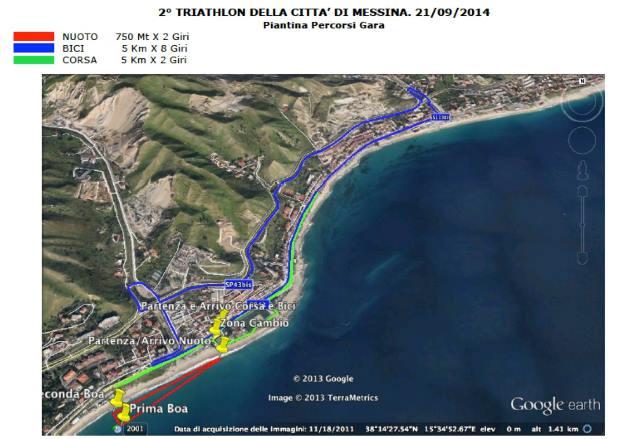 Mappa percorsi Triathlon Città di Messina. 21.09.2014