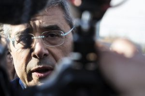 L'ex governatore della Sicilia Salvatore Cuffaro all'uscita dal carcere di Rebibbia, Roma, 13 dicembre 2015. ANSA/MASSIMO PERCOSSI